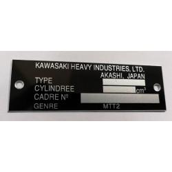 Kawasaki identification plate - Kawasaki data plate