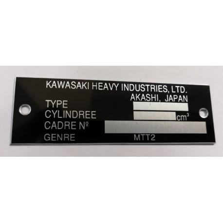 Plaque de cadre Kawasaki