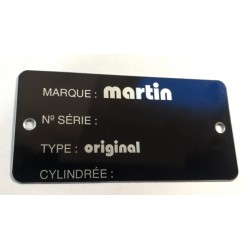 Martin identification plate - Martin Data plate