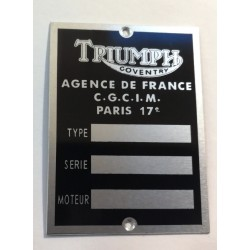 Triumph id plate - French vers.