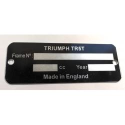 Triumph TR5T identification plate - Triumph tr5 data plate