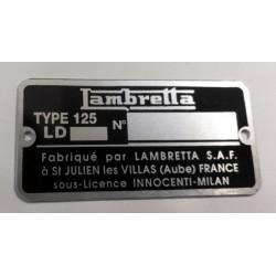 Lambretta identification plate - Lambretta frame plate