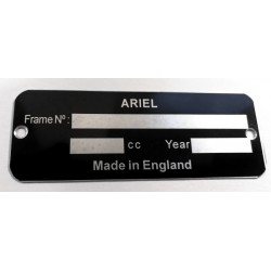 Ariel Identification plate - Ariel data plate