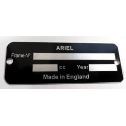 Ariel Identification plate - Ariel data plate