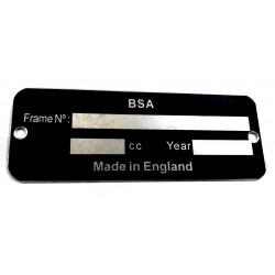 BSA identification plate - BSA frame plate