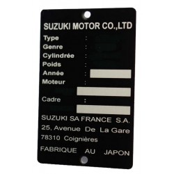 Suzuki id plate - Suzuki frame plate