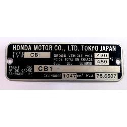 Honda CBX1000 CB1000 id plate - data plate