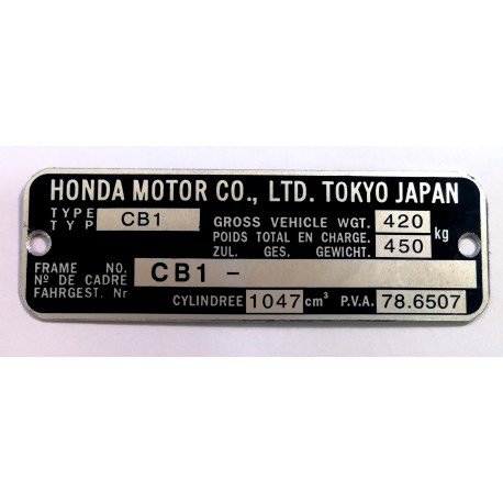 Plaque de cadre Honda CBX1000-CB1000-CBX1000