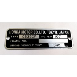 Honda CB 350 F identification plate - Honda CB 350 F data plate