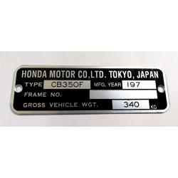 Plaque de cadre Honda CB 350 F
