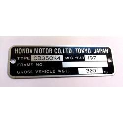 Honda CB 350 k4 identification plate - Honda CB 350 k4 data plate