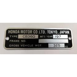 Honda CB 360 identification plate - Honda CB 360 data plate