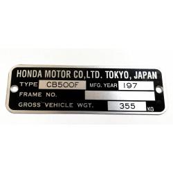 Honda CB 500 F identification plate - Honda CB 500 F data plate