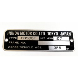 Plaque de cadre Honda CB 500 F