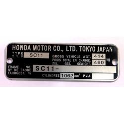 Honda CB 1100 F identification plate - Honda CB 1100 F data plate