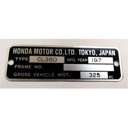 Honda CL 360 identification plate - Honda CL 360 data plate
