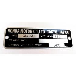 Plaque de cadre Honda CL 500