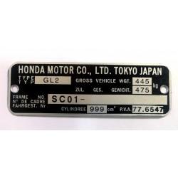 Honda GOLDWING GL100 GL2 identification plate - Honda GL100 data plate