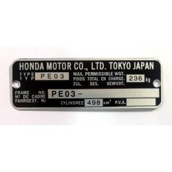 Honda XR 500 PE03 identification plate - Honda XR 500 PE03 data plate