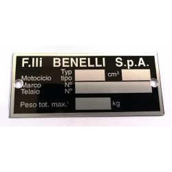 Benelli Identification plate - Benelli data plate