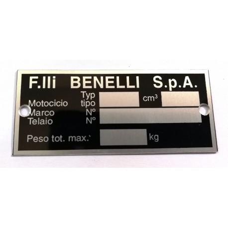 Benelli Identification plate - Benelli data plate