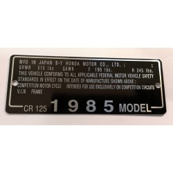 Honda CR 125 identification plate - Honda CR 125 data plate