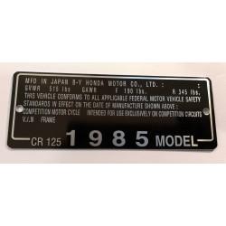 Plaque de cadre Honda CR 125