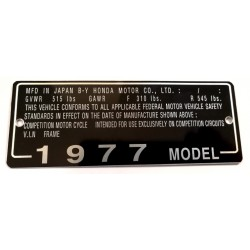 Honda CB 550 Four identification plate - Honda CB 550 Four data plate
