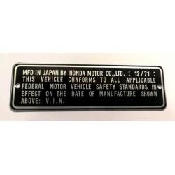 Plaque de cadre Honda Z50 A - CL 450 - ATC 90 KO - CB 750 - N360 - CL 175 KO - SL 70 KO - CB 450 K4 - CB 750 K1...