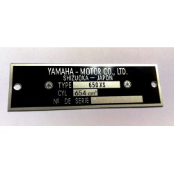 Yamaha 650 XS Data Plate - Identification plate