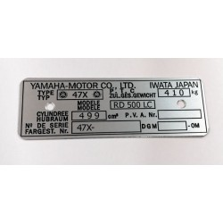 Yamaha RD 500 Data Plate - Identification plate