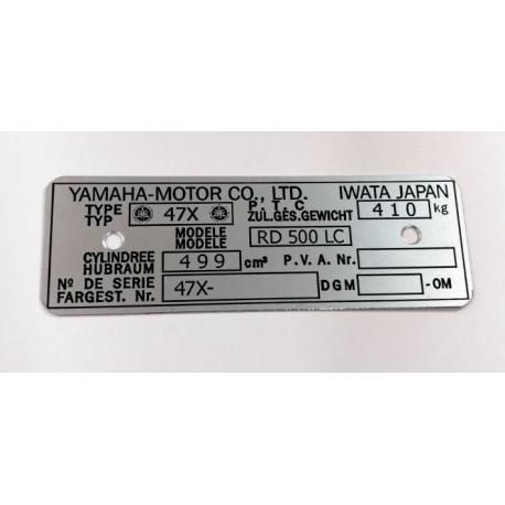 Yamaha RD 500 Data Plate - Identification plate