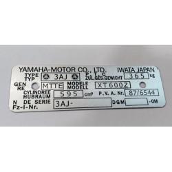 Plaque de cadre Yamaha XT 600