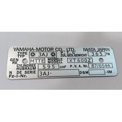 Yamaha XT 600 Data Plate - Identification plate