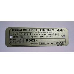 Honda NX 650 Dominator identification plate - Honda XR 500 PE03 data plate