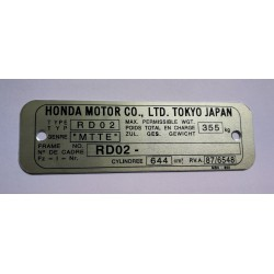 Plaque de cadre Honda NX 650 Dominator