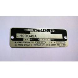 Honda CB 750 SEVEN FIFTY vin plate