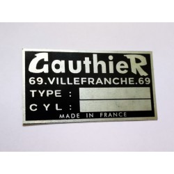 Gauthier vin Plate - Gauthier Data plate
