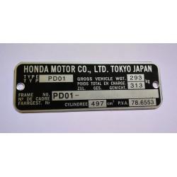 Plaque de cadre Honda XL 500 S
