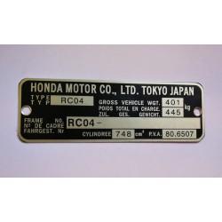 Honda CB 750 F vin Plate