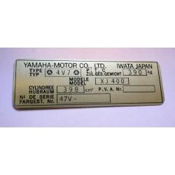 Yamaha XJ 400 Data Plate - vin plate