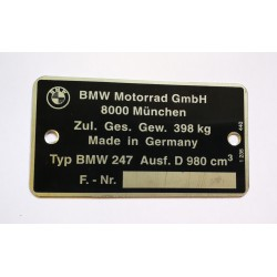 BMW 247 Data Plate
