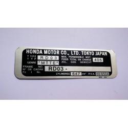 Plaque de cadre Honda XRV 650 Africa Twin