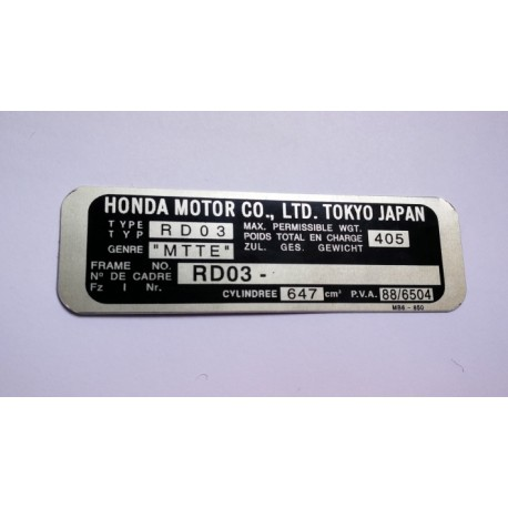 Honda XRV 650 Africa Twin vin plate