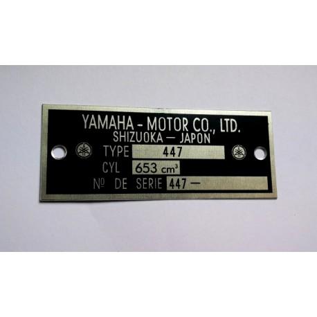 Yamaha 650 XS Data Plate - Identification plate