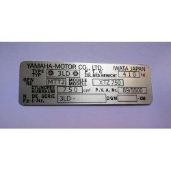 Yamaha XTZ 750 Data Plate - Identification plate