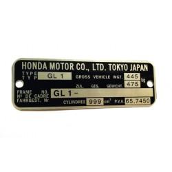 Honda GL1 identification plate - Honda GL1 vin plate