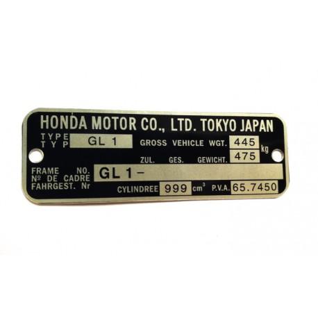 Plaque de cadre Honda GL1