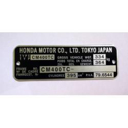 Honda CM 400 TC Id Plate