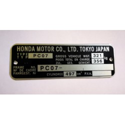 Honda FT500 pc07 Id Plate